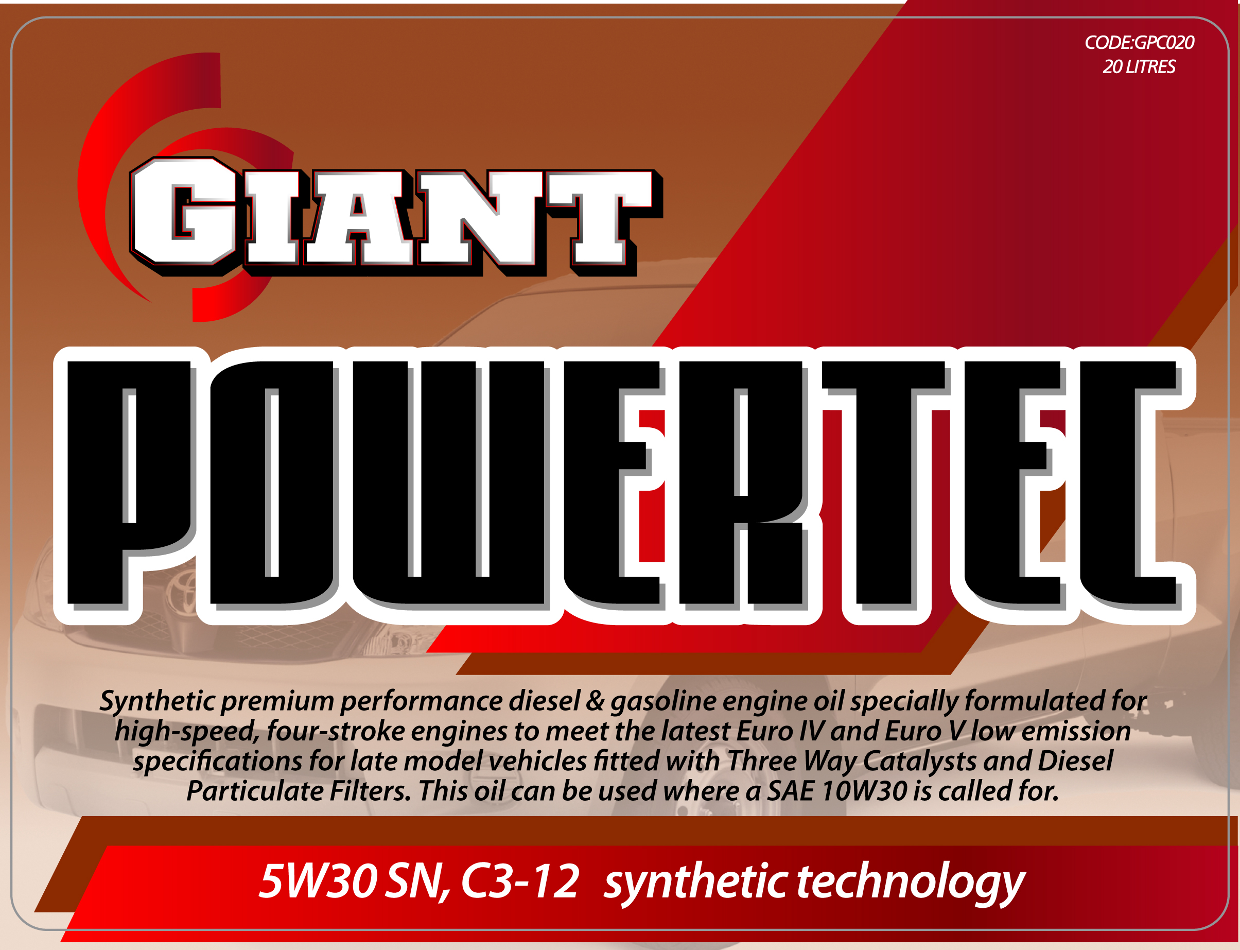 GIANT POWERTEC 5W30 SN/C3 – Available sizes: 1L, 5L, 20L, 200L