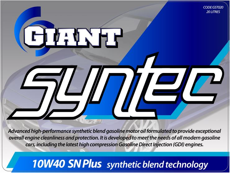 GIANT SYNTEC 10W40 SN – Available sizes: 1L, 5L, 20L, 200L