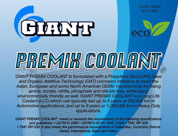 GIANT PREMIX COOLANT BLUE – Available sizes: 1L, 5L, 20L, 200L
