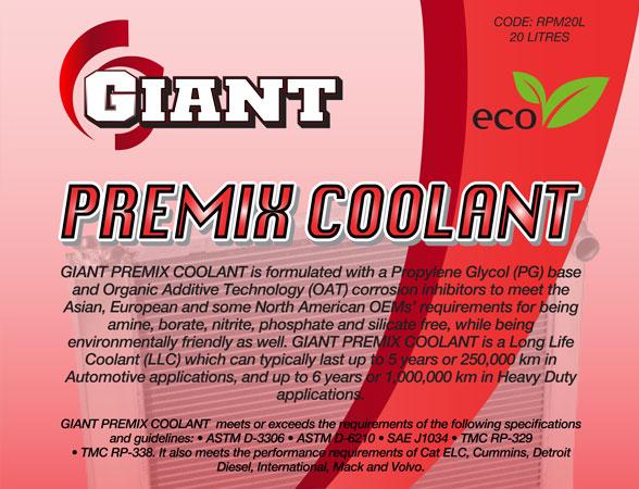 GIANT PREMIX COOLANT RED – Available sizes: 1L, 5L, 20L, 200L