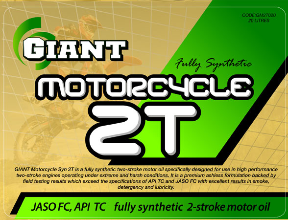 GIANT MOTORCYCLE SYN 2T – Available sizes: 1L, 5L, 20L