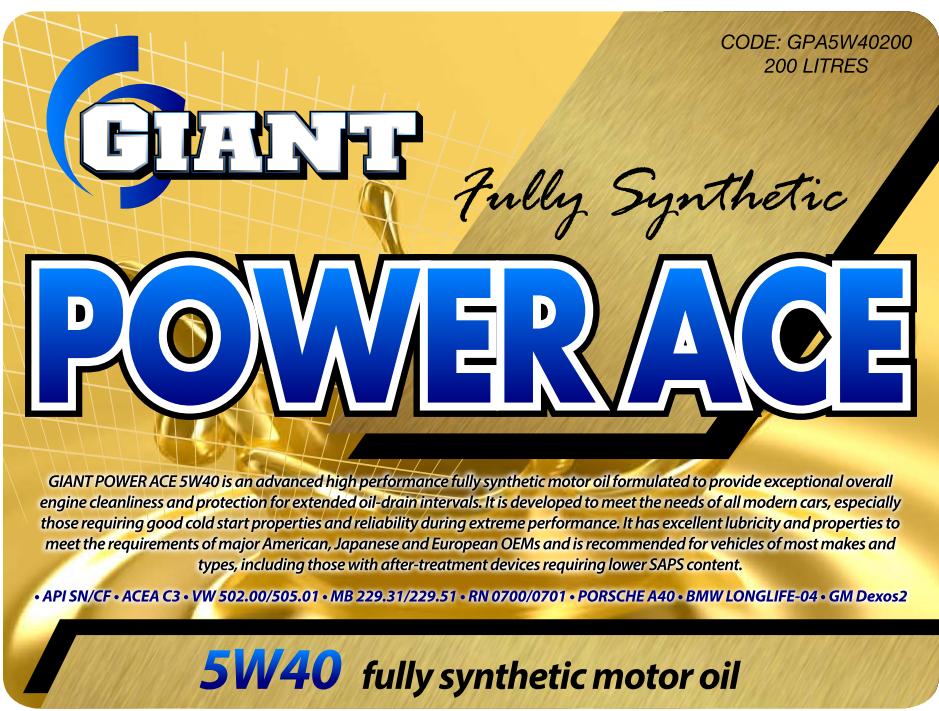 Power Ace 5W40 – Available sizes: 1L, 5L, 20L, 200L