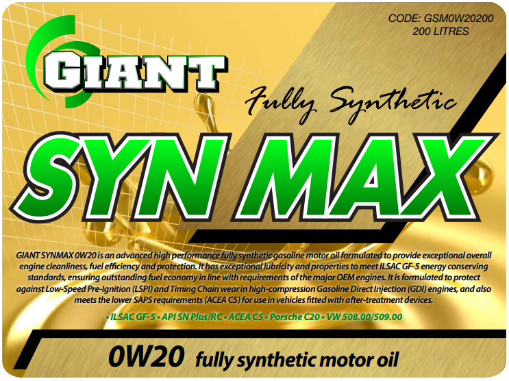 GIANT SYN MAX 0W20 C5 – Available sizes: 1L, 5L, 20L, 200L