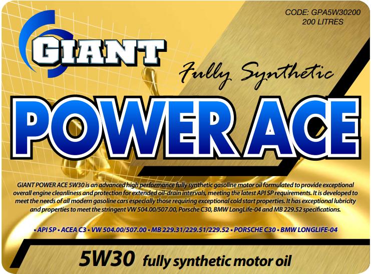 Power Ace 5W30 – Available sizes: 1L, 5L, 20L, 200L