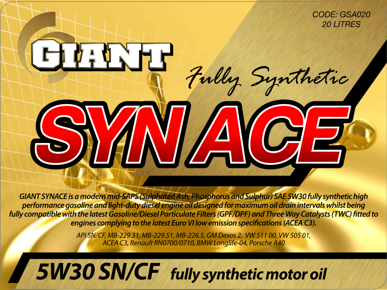 GIANT SYN ACE 5W30 SN/CF/C3 – Available sizes: 1L, 5L, 20L, 200L